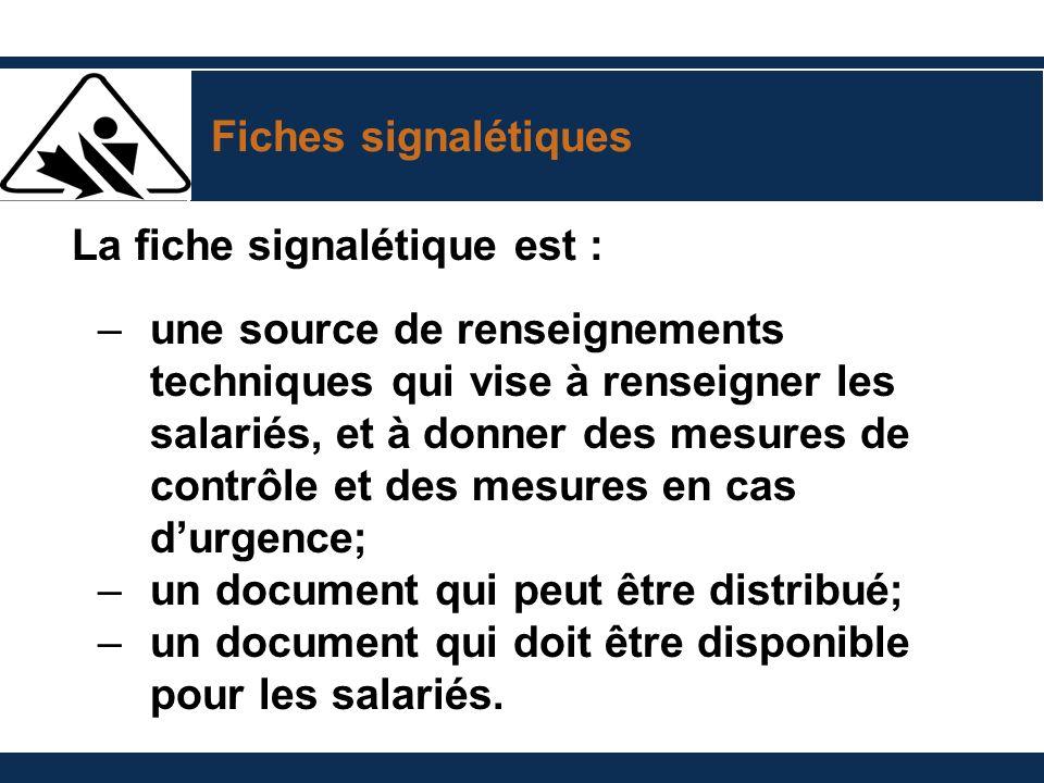 Fiches signalétiques La fiche signalétique est :