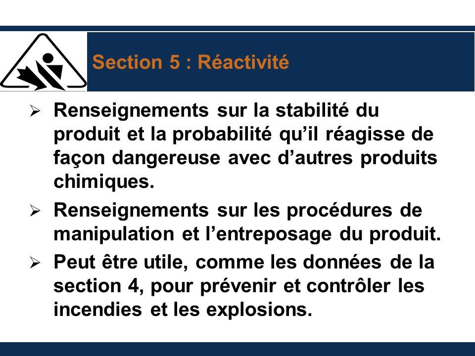 Section 5 : Réactivité