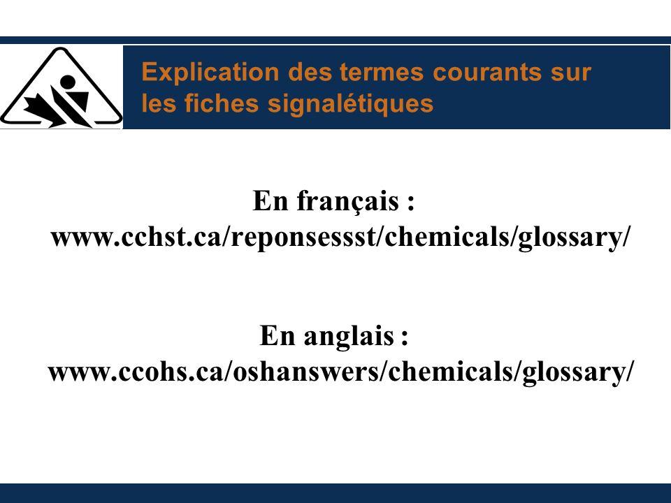 Explication des termes courants sur les fiches signalétiques