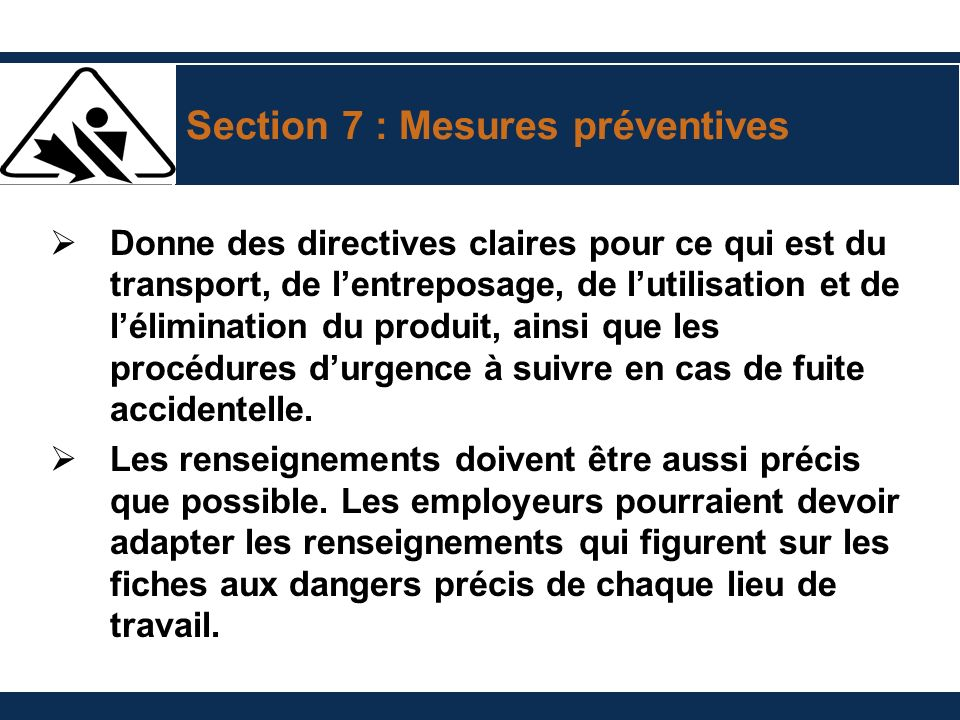 Section 7 : Mesures préventives