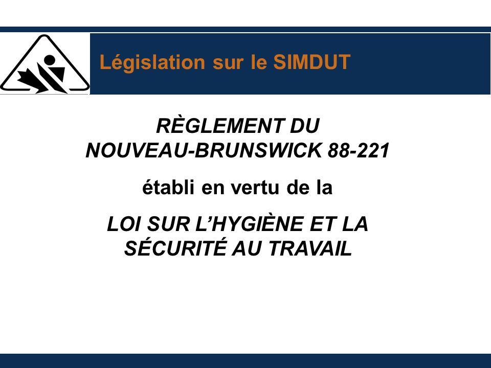 Législation sur le SIMDUT