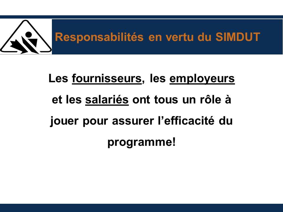 Responsabilités en vertu du SIMDUT