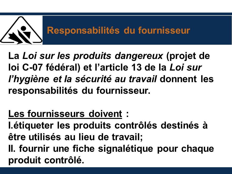 Responsabilités du fournisseur