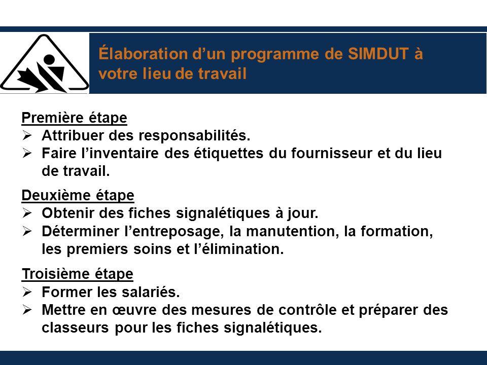 Élaboration d'un programme de SIMDUT à votre lieu de travail