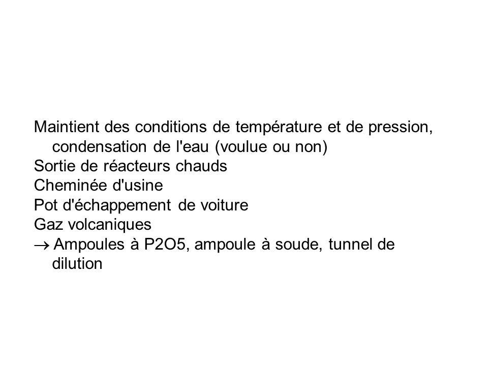 Maintient des conditions de température et de pression, condensation de l eau (voulue ou non)