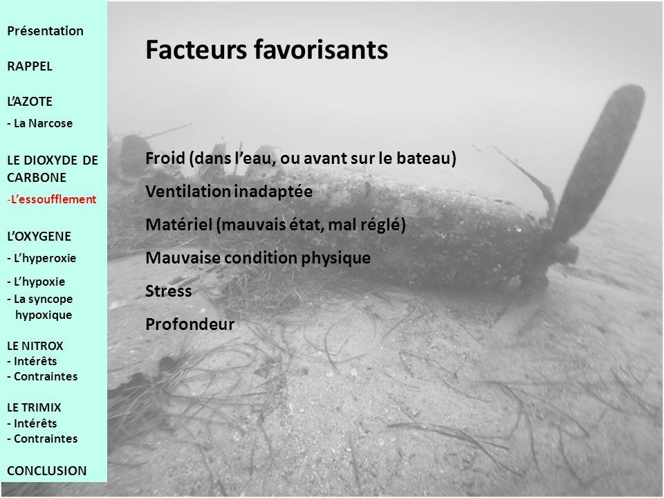 Facteurs favorisants Froid (dans l'eau, ou avant sur le bateau)