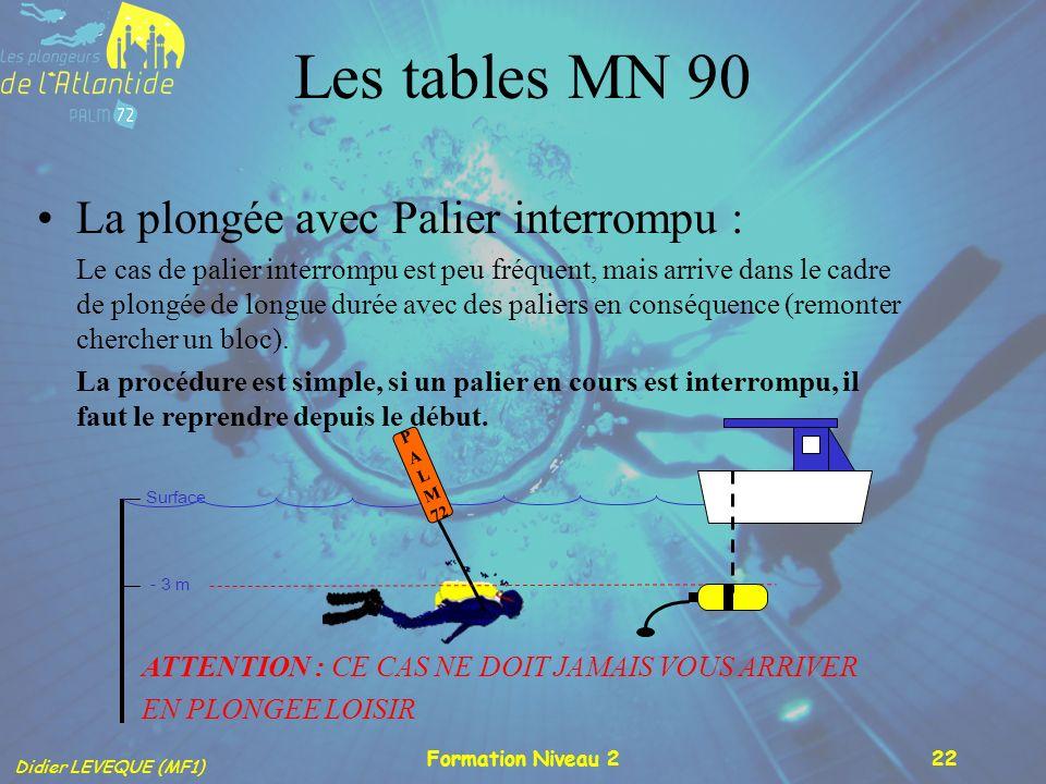 Les tables MN 90 La plongée avec Palier interrompu :