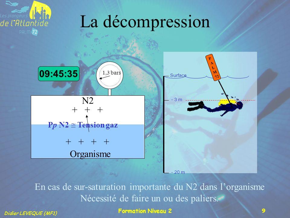 La décompression 09:45:35 N2 + + + + + + + Organisme