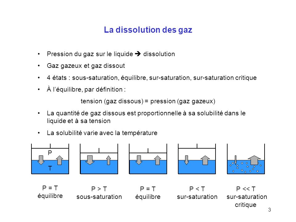 La dissolution des gaz Pression du gaz sur le liquide  dissolution