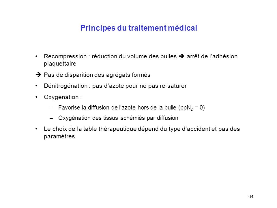 Principes du traitement médical