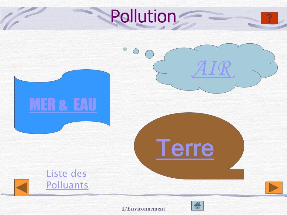 Pollution AIR MER & EAU Terre Liste des Polluants L'Environnement