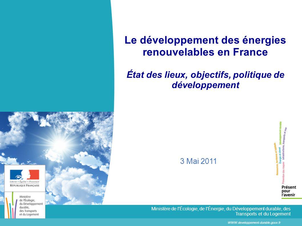 Le développement des énergies renouvelables en France État des lieux, objectifs, politique de développement