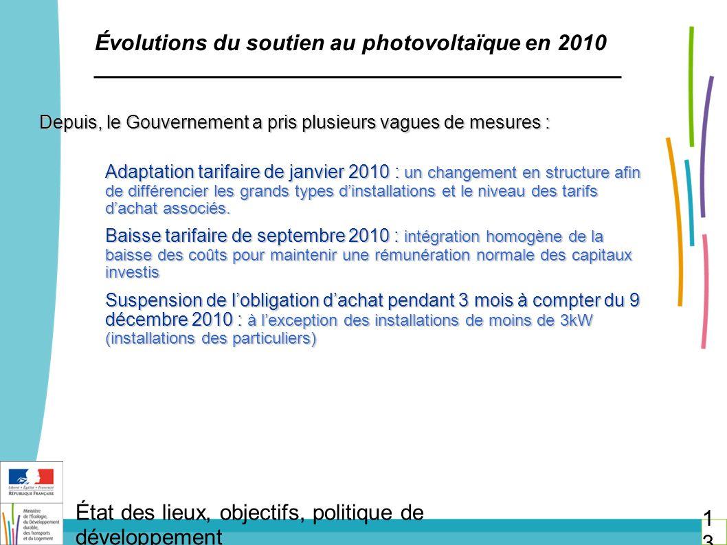 Évolutions du soutien au photovoltaïque en 2010