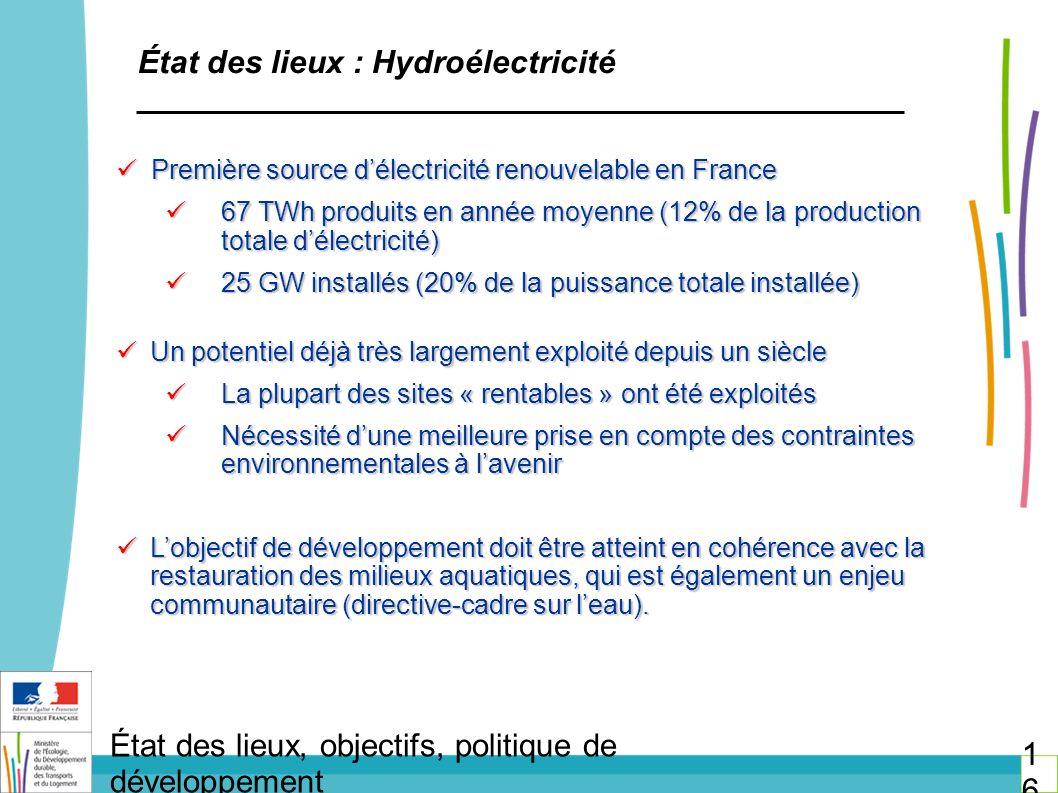 État des lieux : Hydroélectricité