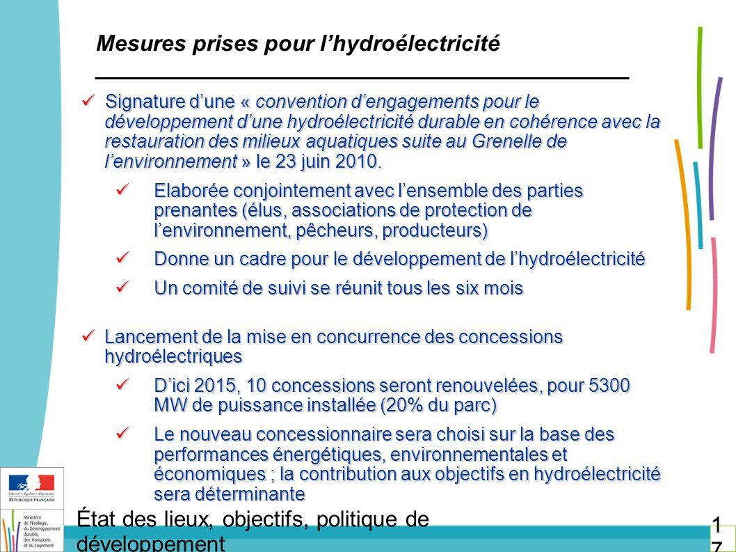 Mesures prises pour l'hydroélectricité