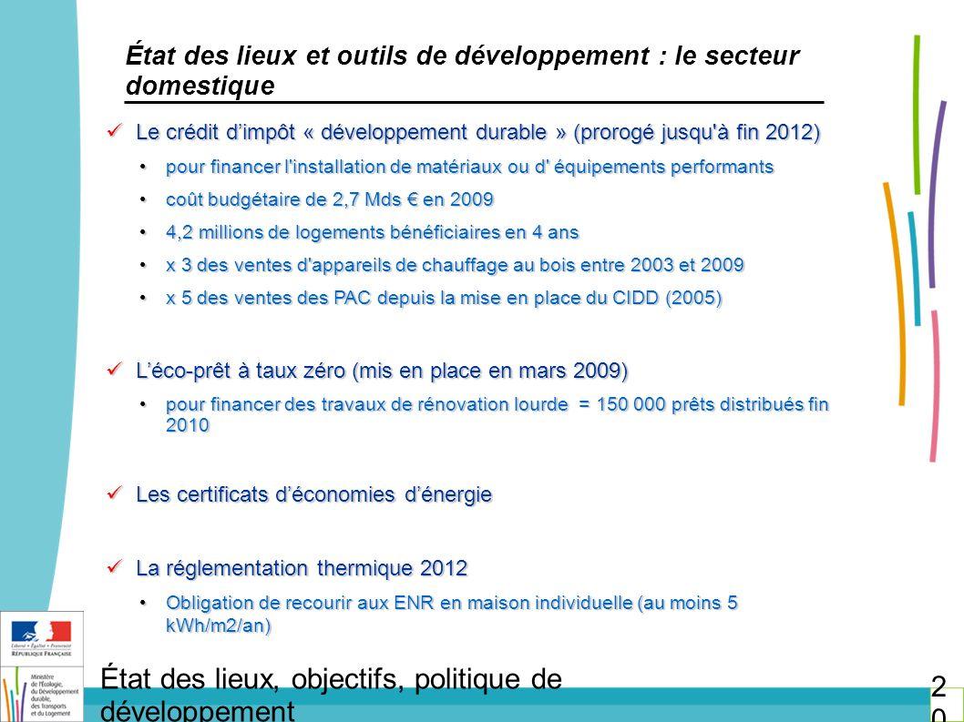 État des lieux et outils de développement : le secteur domestique