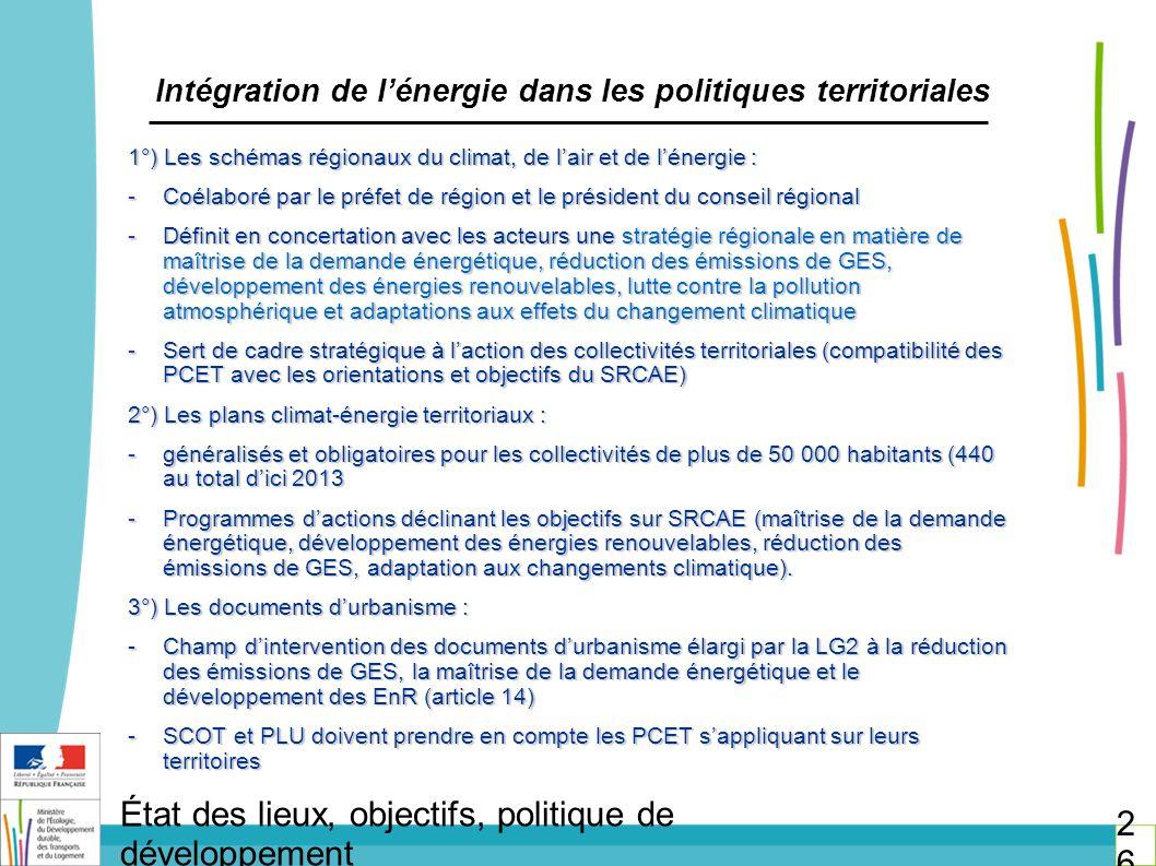 Intégration de l'énergie dans les politiques territoriales