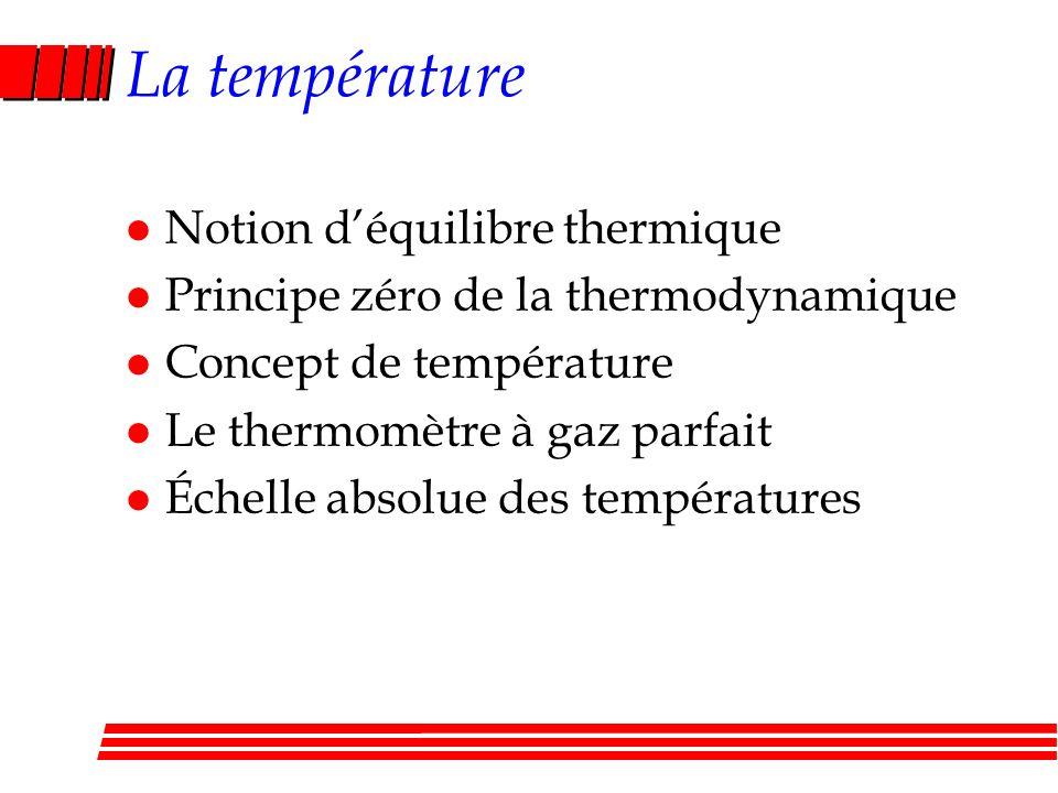 La température Notion d'équilibre thermique