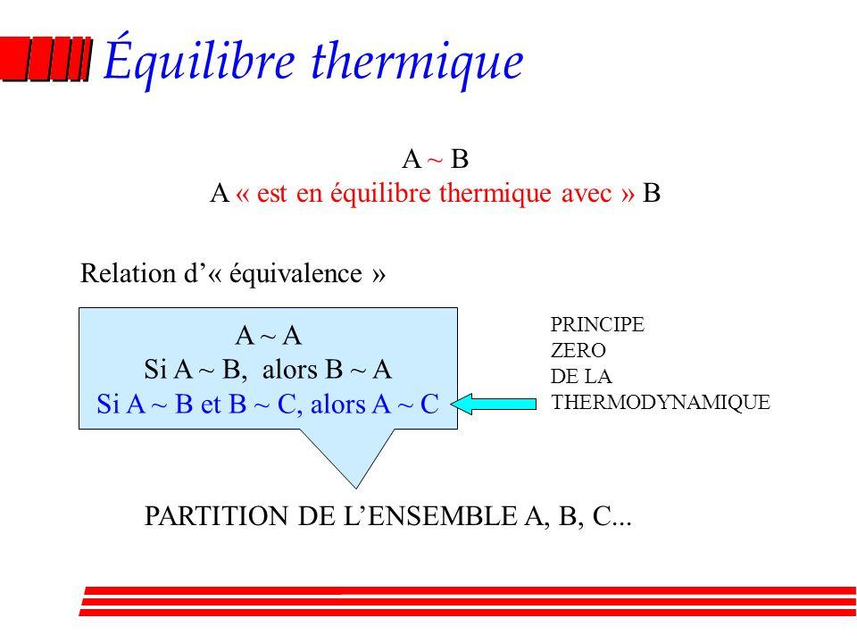 A « est en équilibre thermique avec » B