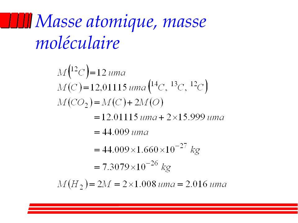 Masse atomique, masse moléculaire
