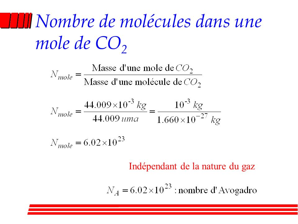 Nombre de molécules dans une mole de CO2