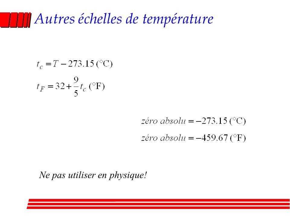 Autres échelles de température