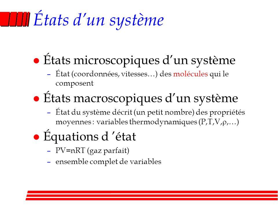 États d'un système États microscopiques d'un système