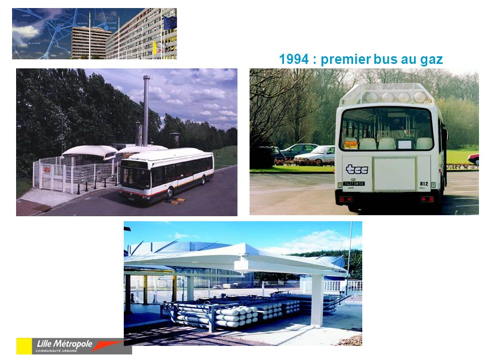 1994 : premier bus au gaz Ce premier bus expérimental a été mis au point en collaboration avec Renault.
