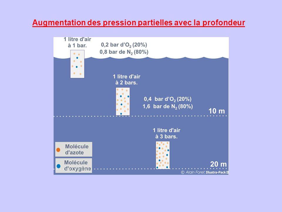Augmentation des pression partielles avec la profondeur