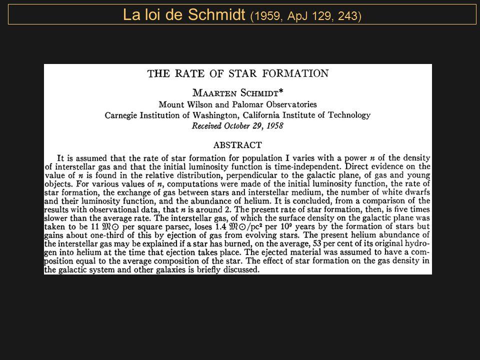 La loi de Schmidt (1959, ApJ 129, 243)