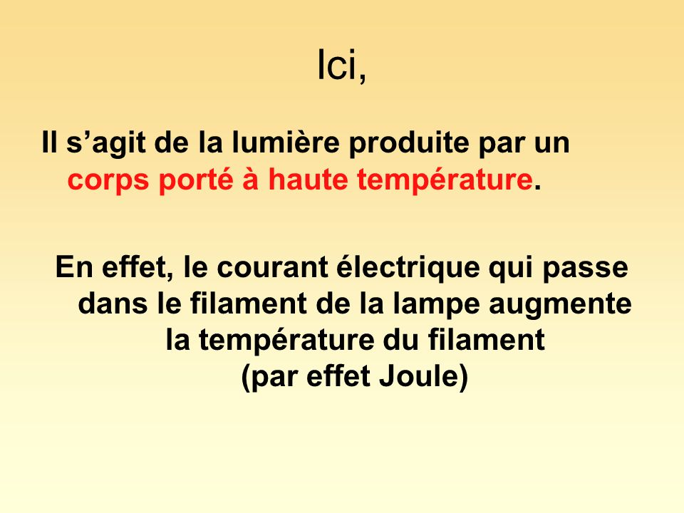 Ici, Il s'agit de la lumière produite par un corps porté à haute température.
