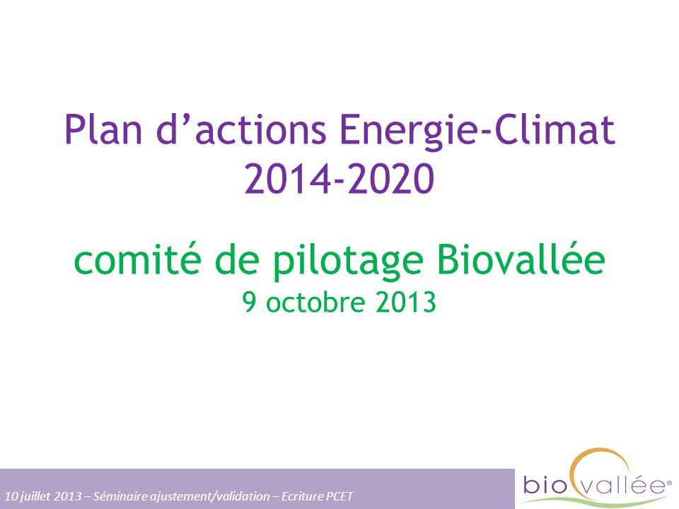 Plan d'actions Energie-Climat 2014-2020 comité de pilotage Biovallée 9 octobre 2013