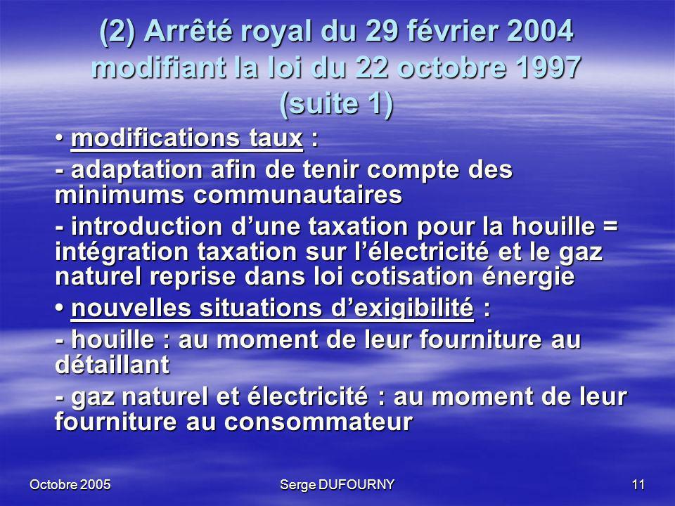 (2) Arrêté royal du 29 février 2004 modifiant la loi du 22 octobre 1997 (suite 1)