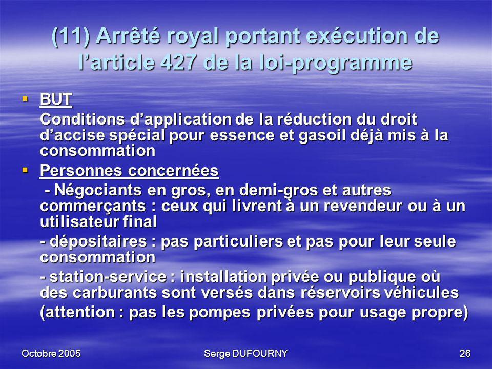(11) Arrêté royal portant exécution de l'article 427 de la loi-programme