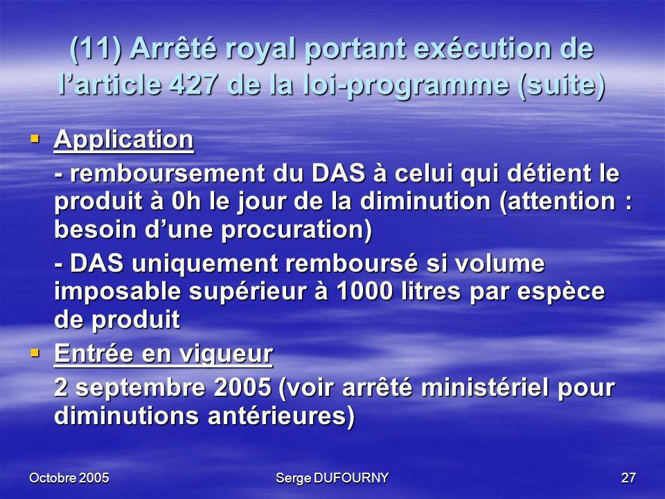 (11) Arrêté royal portant exécution de l'article 427 de la loi-programme (suite)