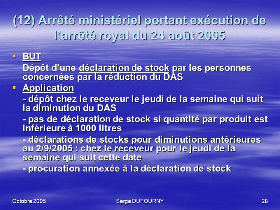 (12) Arrêté ministériel portant exécution de l'arrêté royal du 24 août 2005