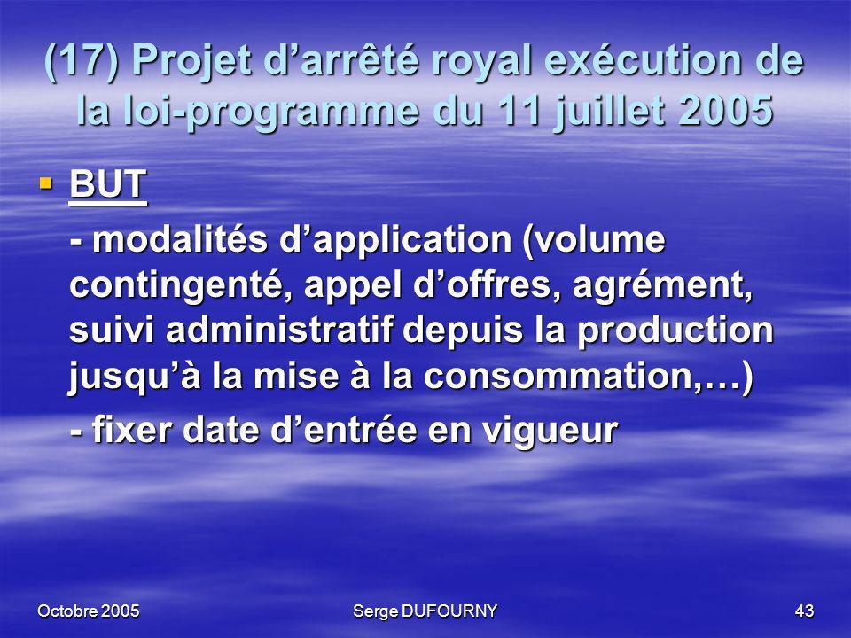 (17) Projet d'arrêté royal exécution de la loi-programme du 11 juillet 2005