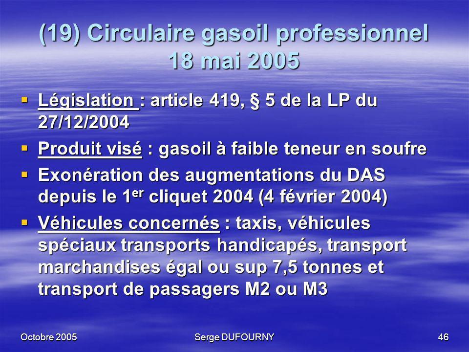 (19) Circulaire gasoil professionnel 18 mai 2005