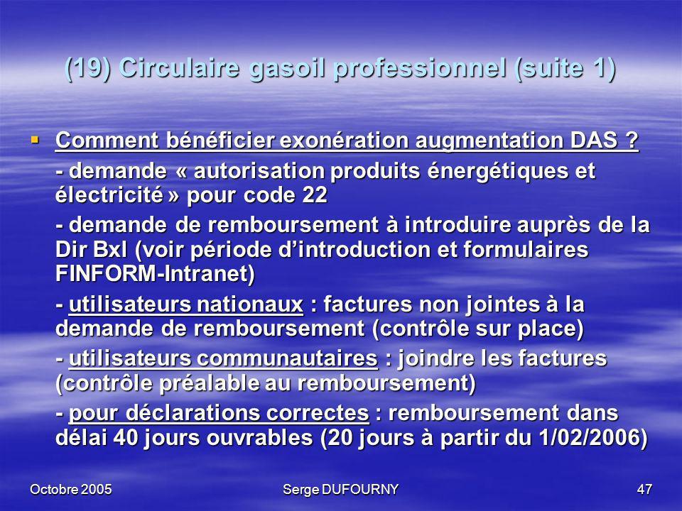 (19) Circulaire gasoil professionnel (suite 1)