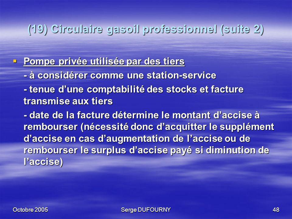 (19) Circulaire gasoil professionnel (suite 2)