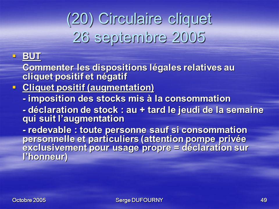 (20) Circulaire cliquet 26 septembre 2005