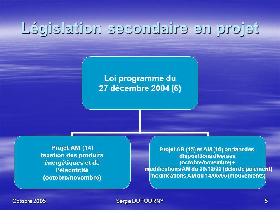 Législation secondaire en projet