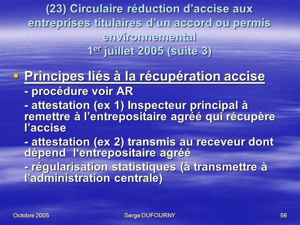 Principes liés à la récupération accise