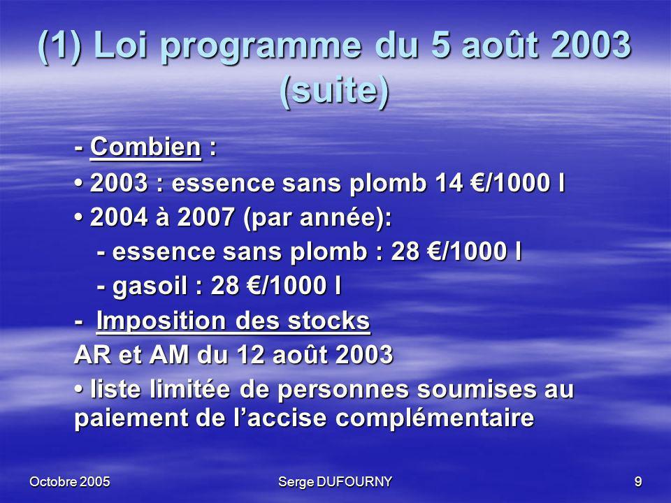 (1) Loi programme du 5 août 2003 (suite)