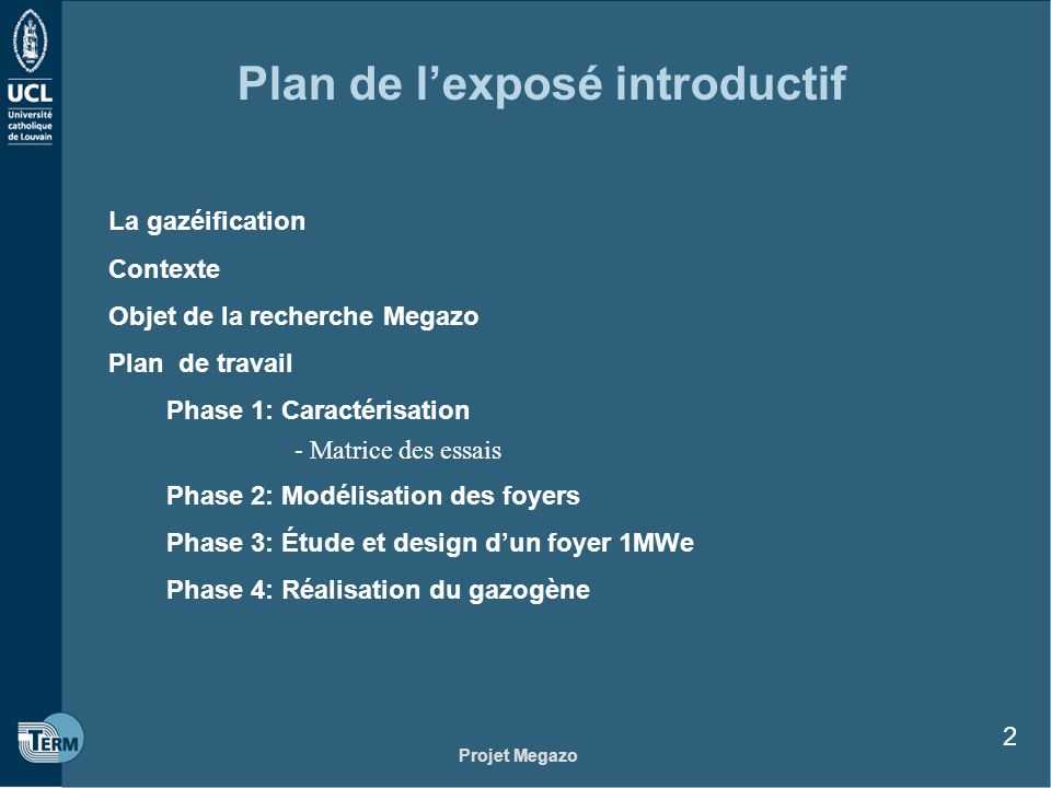 Plan de l'exposé introductif
