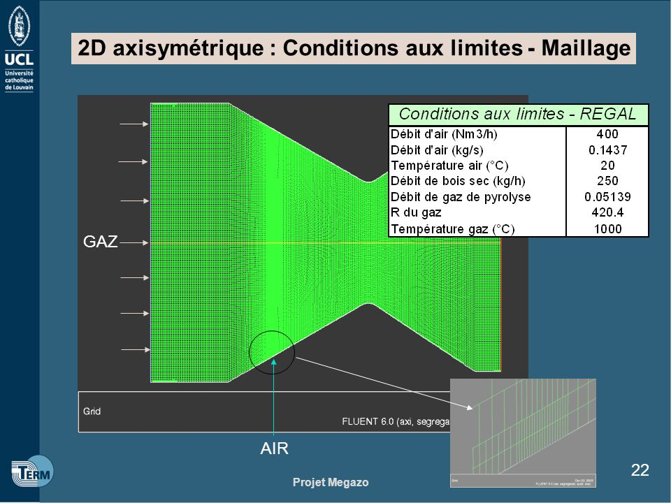 2D axisymétrique : Conditions aux limites - Maillage