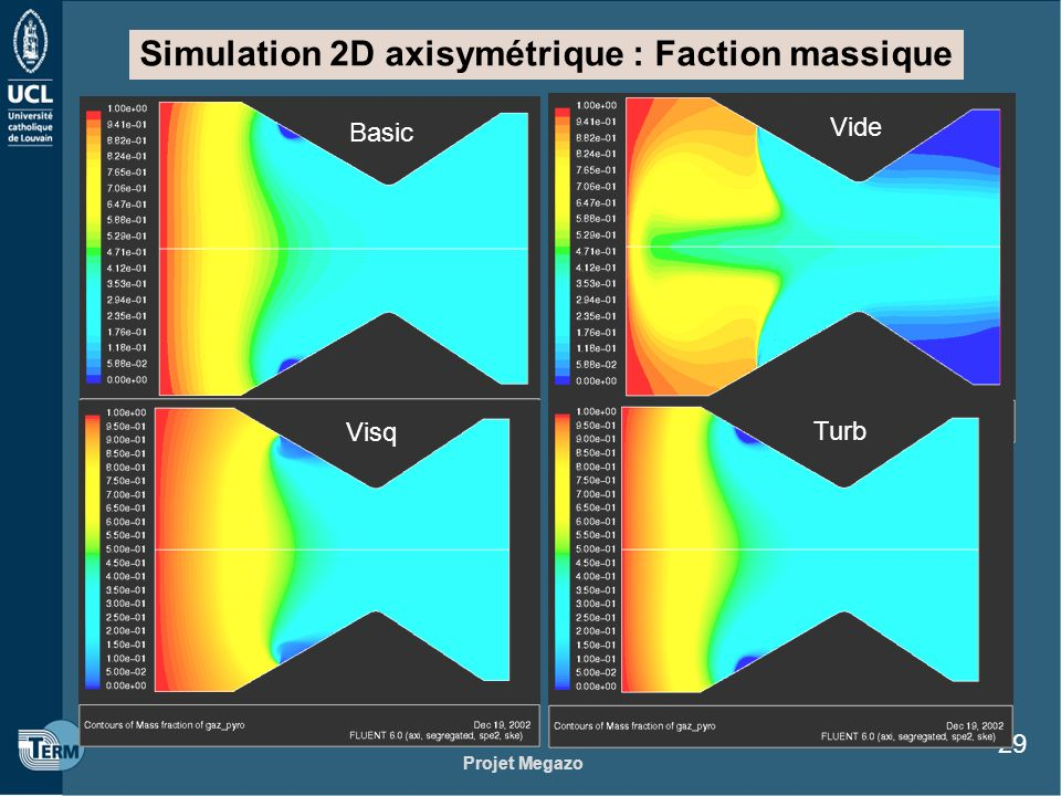 Simulation 2D axisymétrique : Faction massique