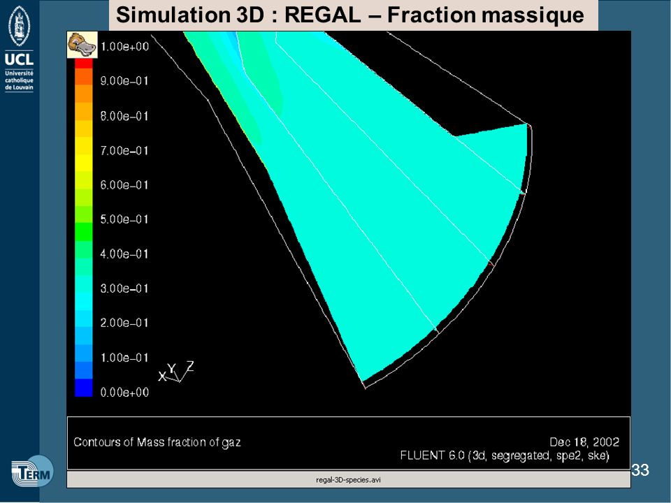 Simulation 3D : REGAL – Fraction massique