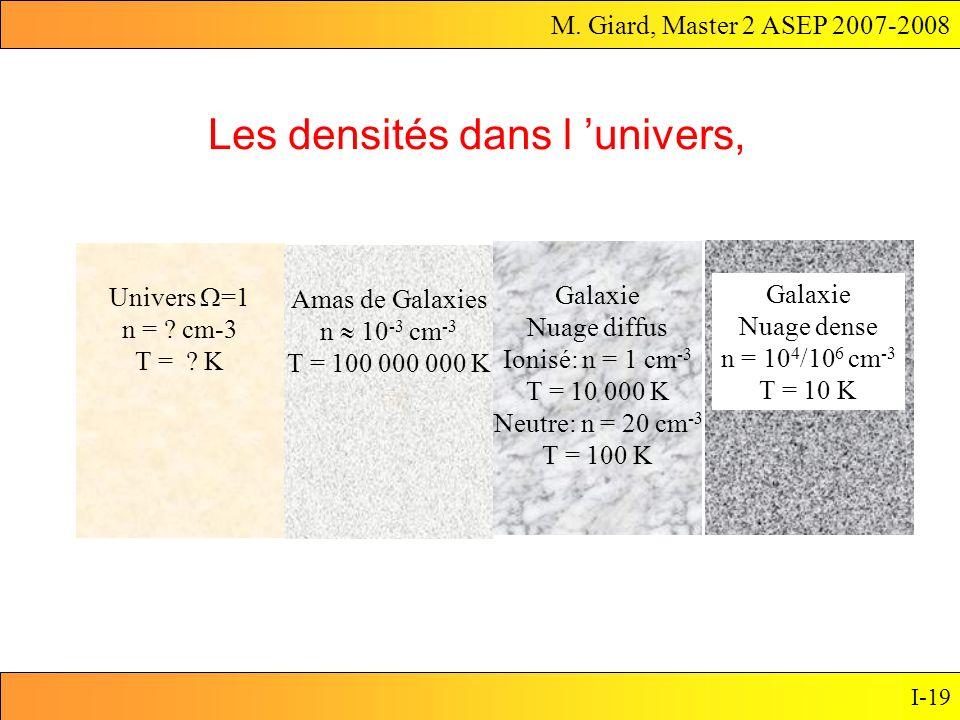 Les densités dans l 'univers,