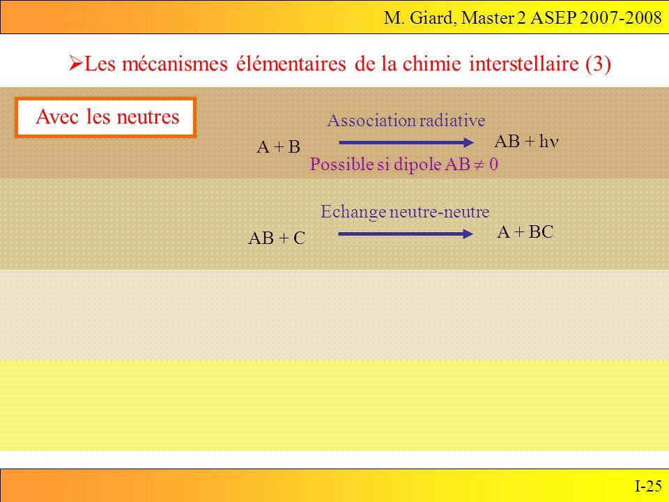 Les mécanismes élémentaires de la chimie interstellaire (3)